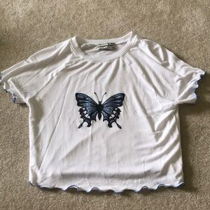 white and blue urban outfitters butterfly crop top